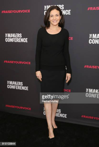 Chief Operating Officer Facebook Sheryl Sandberg attends The 2018 MAKERS Conference at NeueHouse Hollywood on February 6 2018 in Los Angeles...