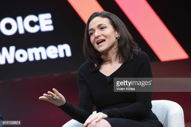 Chief Operating Officer Facebook Sheryl Sandberg speaks onstage during The 2018 MAKERS Conference at NeueHouse Hollywood on February 6 2018 in Los...