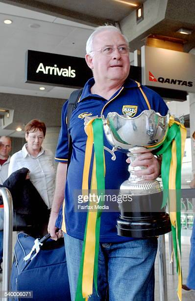 ARL Chief Operating Officer John Coates escorts the Anzac Test trophy back to Sydney after it was stolen by a drunken New Zealand fan following the...