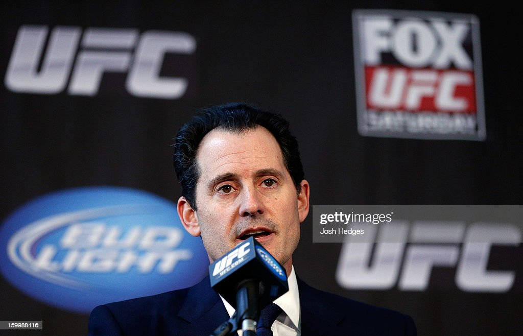 Chief Operating Officer Lawrence Epstein interacts with media during the UFC on FOX press conference on January 24, 2013 at the United Center in Chicago, Illinois.