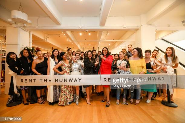Chief Operating Officer Maureen Sullivan and San Francisco Mayor London Breed cut the ceremonial ribbon with Rent the Runway staff and guests during...