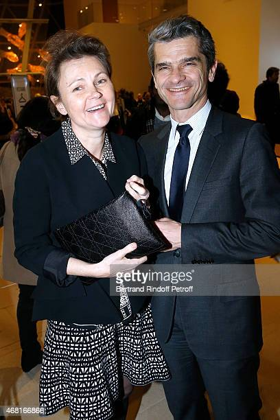 Chief operating officer of Christian Dior Couture Serge Brunschwig with his wife Valerie Brunschwig attend the 'Les Clefs d'une Passion' Exhibition...