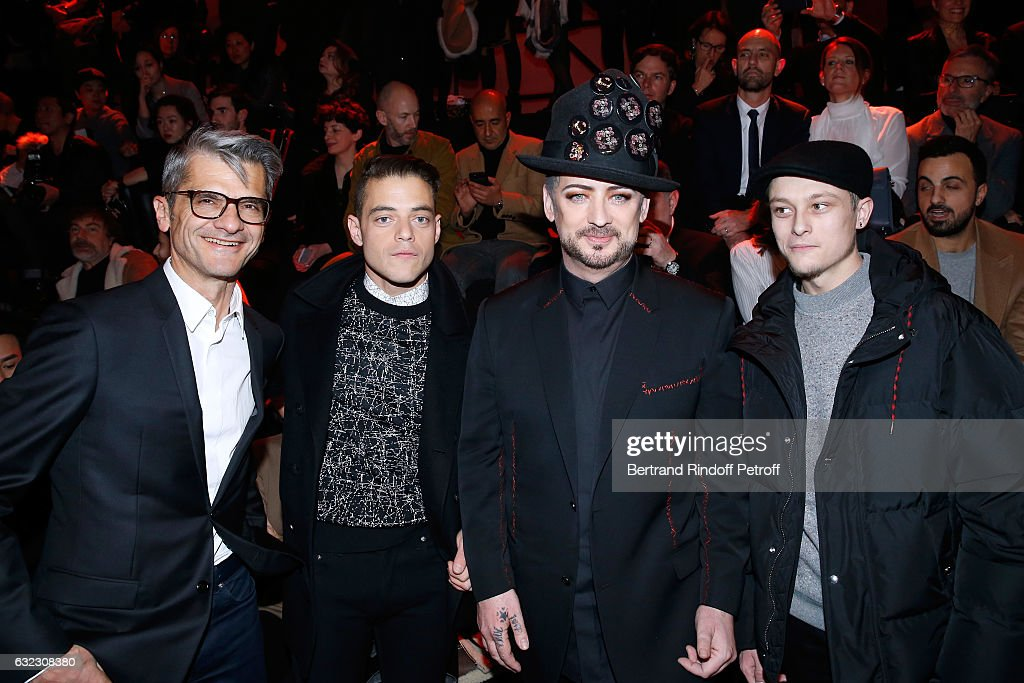 Chief operating officer of Christian Dior Couture, Serge Brunschwig, actor Rami Malek, singer Boy George and actor Rod Paradot attend the Dior Homme Menswear Fall/Winter 2017-2018 show as part of Paris Fashion Week on January 21, 2017 in Paris, France.