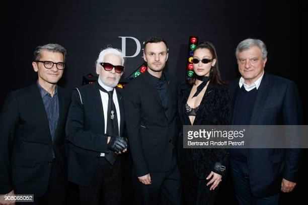 Chief operating officer of Christian Dior Couture Serge Brunschwig Karl Lagerfeld Stylist of Dior Men Kris Van Assche Bella Hadid and Outgoing CEO of...