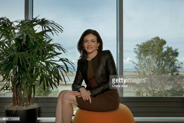 Chief Operating Officer of Facebook and founder of Leaninorg Sheryl Sandberg is photographed for Les Echos on January 11 2017 in Menlo Park California