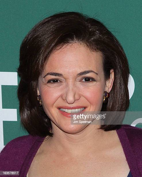 Chief Operating Officer of Facebook Sheryl Sandberg attends Lean In Women Work and the Will to Lead with Sheryl Sandberg and Chelsea Clinton at...