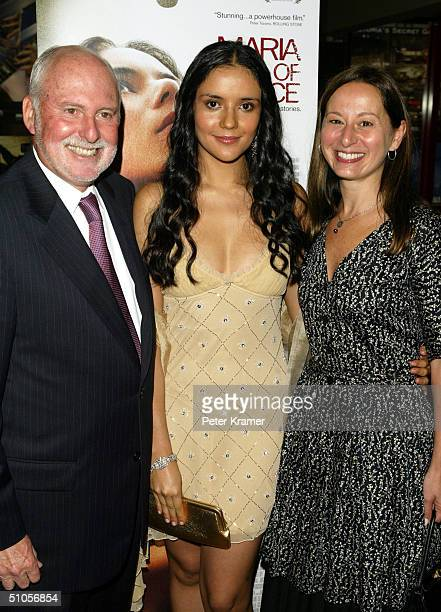 Chief operating officer of New Line Michael Lynne actress Catalina Sandino Moreno and vice president of HBO Films Maud Nadler attend the premiere of...