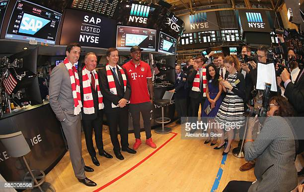 Chief Operating Officer of NYSE Thomas W Farley CEO of FC Bayern Muenchen KarlHeinz Rummenigge CFO of SAP SE Luka Mucic and Jerome Boateng of FC...
