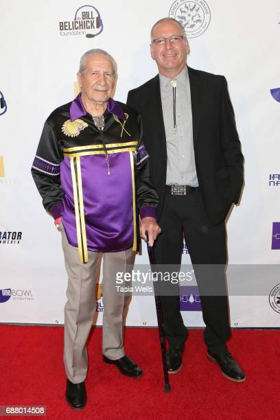 Chief Oren Lyons and associate producer Rex Lyons attend the premiere of XLrator Media's 'Spirit Game Pride of a Nation' at Writers Guild Theater on...