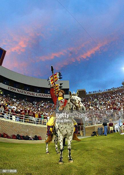 Chief Osceola and his horse Renagade wait on the field as the visiting North Carolina State Wolfpack takes on the Florida State Seminoles at Doak...