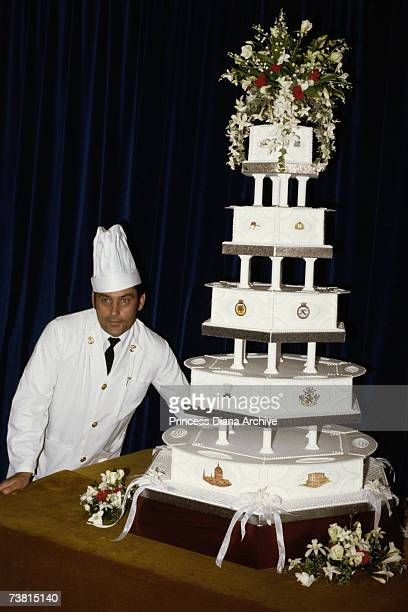 Chief petty officer cook David Avery with the royal wedding cake made for Prince Charles and Princess Diana's wedding, 29th July 1981.