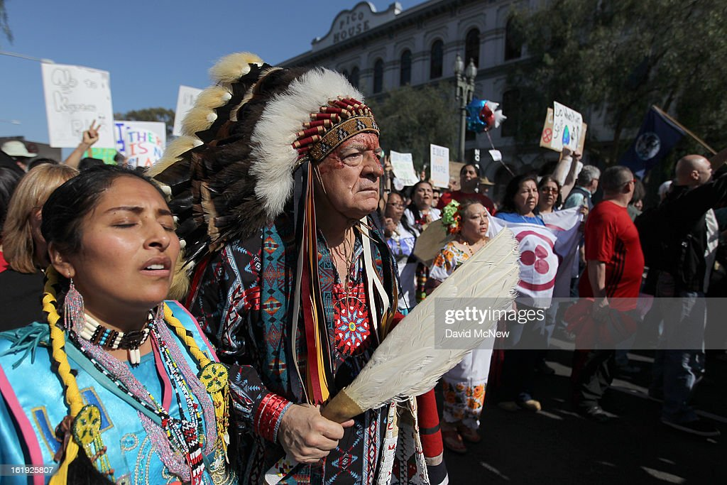 Chief Phil Lane of the Yankton Dakota and Chickasaw First Nations marches with demonstrators to City Hall during the 'Forward on Climate' rally to call on President Obama to take strong action on the climate crisis on February 17, 2013 in Los Angeles, California. Organizers say the rally, which is led by Tar Sands Action Southern California and Sierra Club, is composed of a coalition of over 90 groups and coincides with similar rallies in Washington D.C. and other U.S. cities.