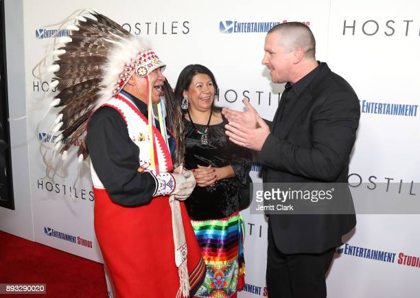 Chief Phillip Whiteman Jr Lynette Two Bulls and Christian Bale attend the Premiere Of Entertainment Studios Motion Pictures' 'Hostiles' at Samuel...