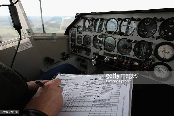 Chief Pilot Mark Finney enters his log onboard the Appliances Online blimp on April 28, 2016 in Sydney, Australia. The Appliances Online blimp is the...