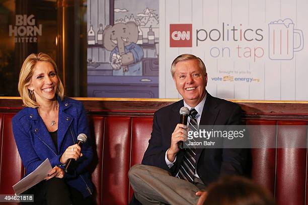 Chief political correspondent Dana Bash interviews Senator Lindsey Graham during CNN's Politics On Tap at Walnut Brewery on October 27 2015 in...