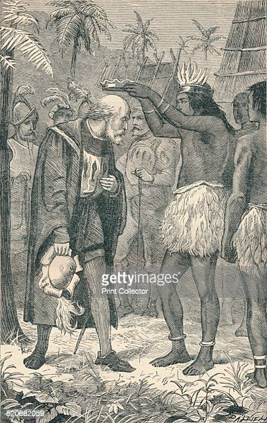A chief probably Guacanagaríx placing a crown on the head of Christopher Columbus Guacanagaríx was one of the five caciques of Hispaniola He was the...