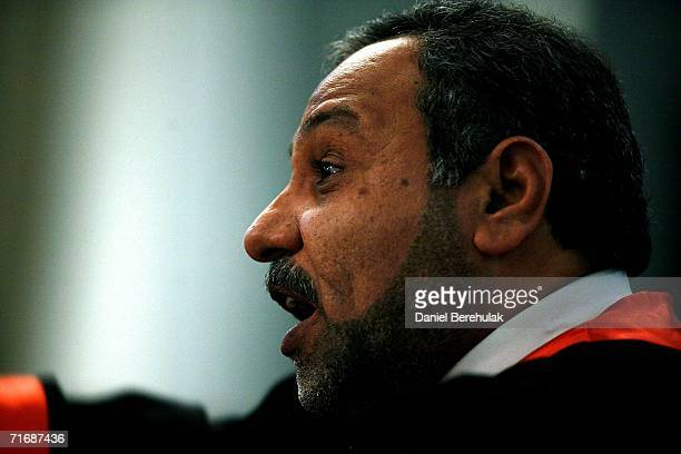 Chief prosecutor Jafar alMusawi addresses the court during the first day of the Anfal trial on August 21 2006 in Baghdad's heavily fortified Green...