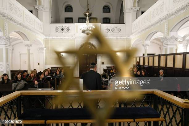 Chief Rabbi of Poland Michael Shudrich is seen speaking to a congregation of women Rabbis visiting the Nozyk synagogue in Warsaw Poland on January 17...