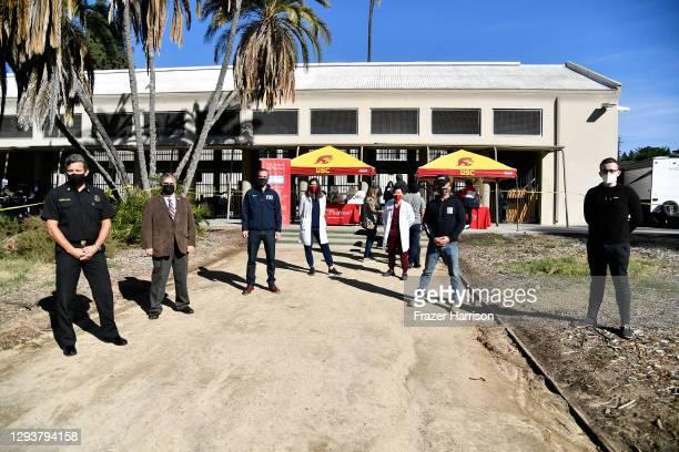 Chief Ralph Terrazas, USC School of Pharmacy Dean Vassilios Papadopoulos, Los Angeles Mayor Eric Garcetti; Carla Blieden, Assistant Professor USC...