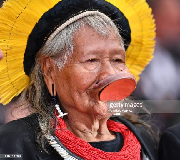 Chief Raoni Metuktire, leader of the Kayapo people, a Brazilian Indigenous group and living symbol of the fight for preservation of the Amazon...