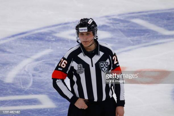 Chief referee, judge, Evgeny Gamaley in action during the Kontinental Hockey League, playoffs, 1/4 finals of the Western Conference of the Gagarin...
