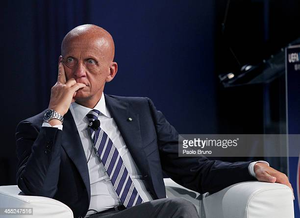 UEFA chief refereeing officer Pierluigi Collina attends a UEFA Conference 'Respect Diversity' on September 11 2014 in Rome Italy