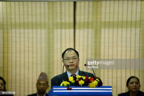 Chief Representative of China Telecom Wang Yonglin giving speech during Inauguration of Nepal - China Cross-border Optical Fiber Link between Nepal...