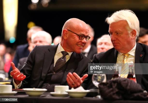 Chief representative of Volkswagen AG Dr Thomas Steg speaks with Mayor of Dortmund Ullrich Sierau during the Borussia Dortmund General Assembly on...