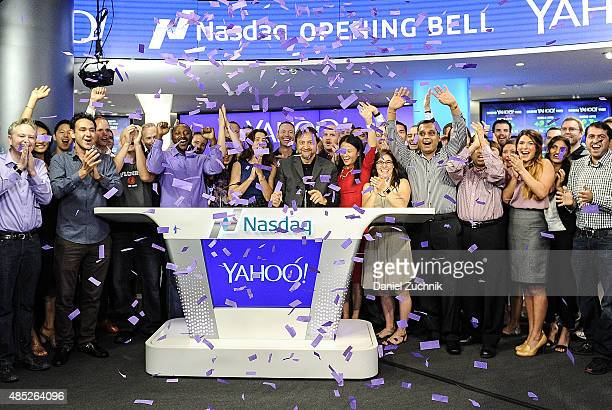 Chief Revenue Office of Yahoo Lisa Utzschneider Senior Vice President of Yahoo Simon Khalaf and Principal Technologist at Nasdaq Mike Viola pose...
