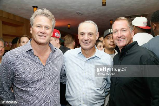 EVP Chief Revenue Officer New Era Caps Jim Grundtisch Rob Manfred and CEO President of New Era Caps Chris Koch attend the New Era Cap MLB AllStar...