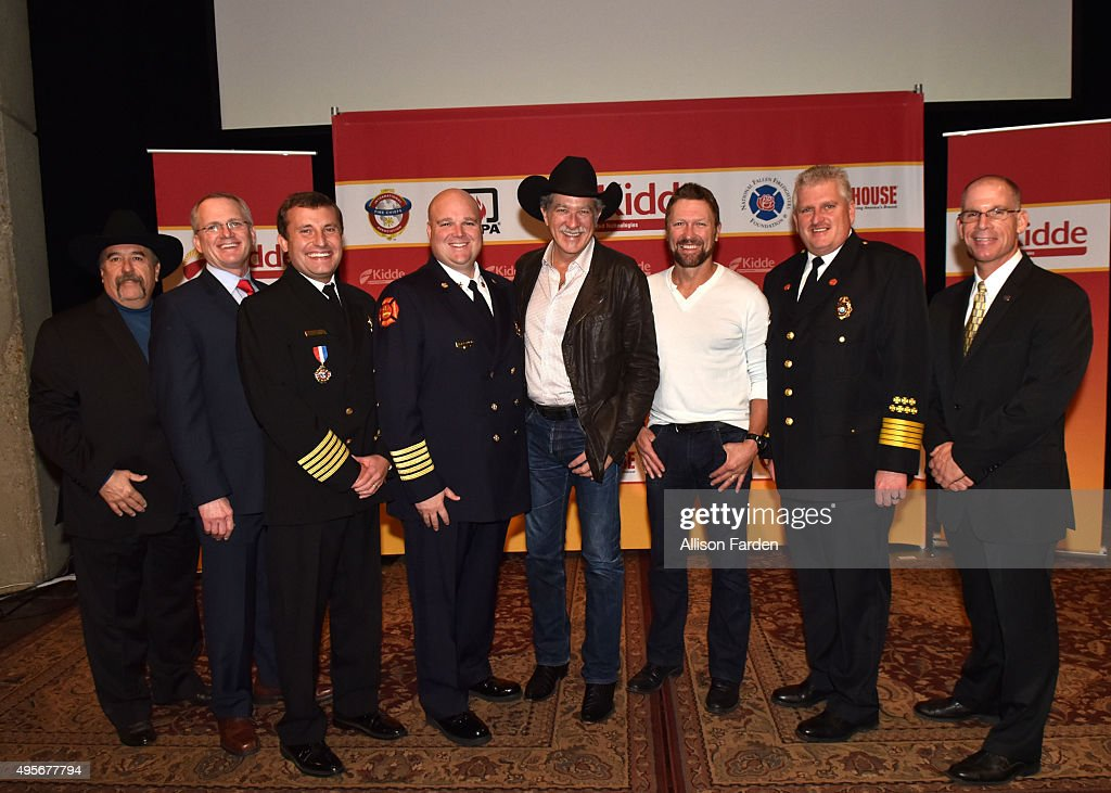Chief Ronald Siarnicki, Regional Director Randy Safer, Chief Tom Jenkins, Chief Shane Crutcher, Artist Kix Brooks, Artist Craig Morgan, Tennessee Fire Marshal Gary West, Editor-in-Chief Timothy Sendelbach attend Kidde Fire Safety Campaign at Country Music Hall of Fame and Museum on November 4, 2015 in Nashville, Tennessee.