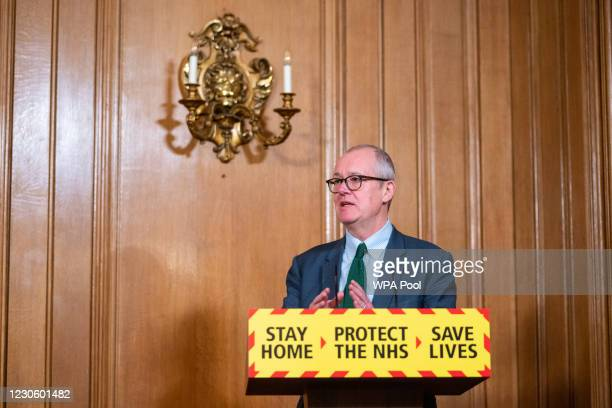 Chief scientific adviser Sir Patrick Vallance speaks during a media briefing on coronavirus at Downing Street on January 15, 2021 in London, England.
