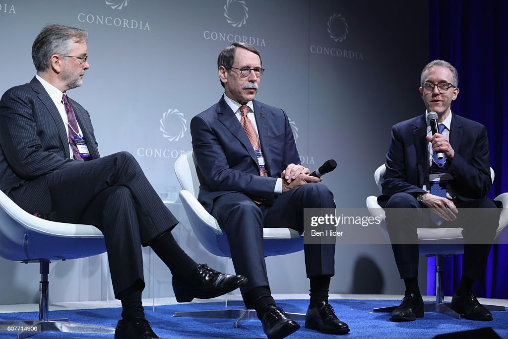 Chief Scientific Officer for Immunobiology, Eli Lilly & Company, Dr. Michael Kalos, Chief of the Melanoma, President and Chief Executive Officer, St. Jude Children's Research Hospital, Dr. James R. Downing and Immunotherapeutics Service Memorial Sloan-Kettering Memorial Cancer Center, Dr. Jedd Wolchok speak at the 2016 Concordia Summit - Day 1 at Grand Hyatt New York on September 19, 2016 in New York City.