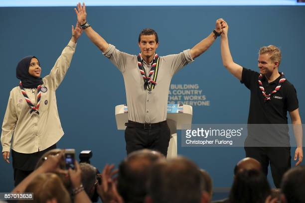 Chief Scout Bear Grylls addresses the delegates on the third day of the Conservative Party annual conference at the Manchester Central Convention on...