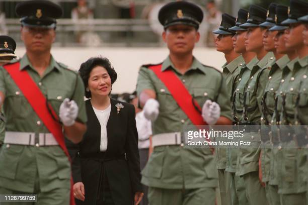 Chief secretary Anson Chan Fang Onsang inspects at the Correctional Services Department passing out parade Photo by Tony Aw 21 Jul 95