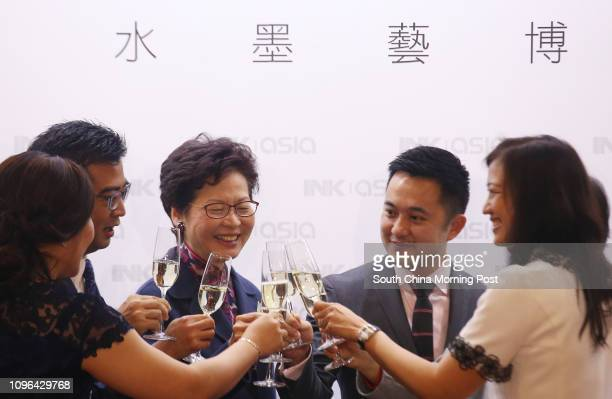Chief Secretary Carrie Lam Cheng Yuetngor and director of InkAsia Calvin Hui attend opening ceremony of the Ink Asia exhibition to be held at the...