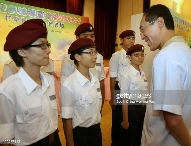 Chief Secretary Henry Tang Yingyen talks to advanced leaders of JPC during visiting the JPC Fight Crime Summer Camp at YMCA Wu Kwai Sha Youth Village...