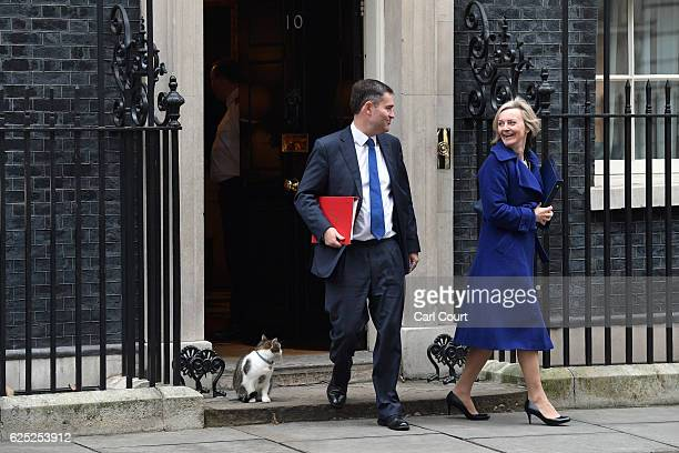 Chief Secretary to the Treasury David Gauke and Justice Secretary Liz Truss walk past Larry the Downing Street cat as they leave after attending a...