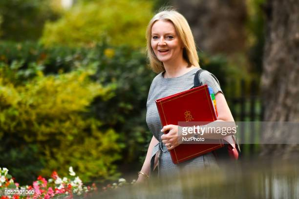 Chief Secretary to the Treasury Elizabeth Truss arrives for a weekly meeting of cabinet ministers at number 10 Downing Street in London on October 16...
