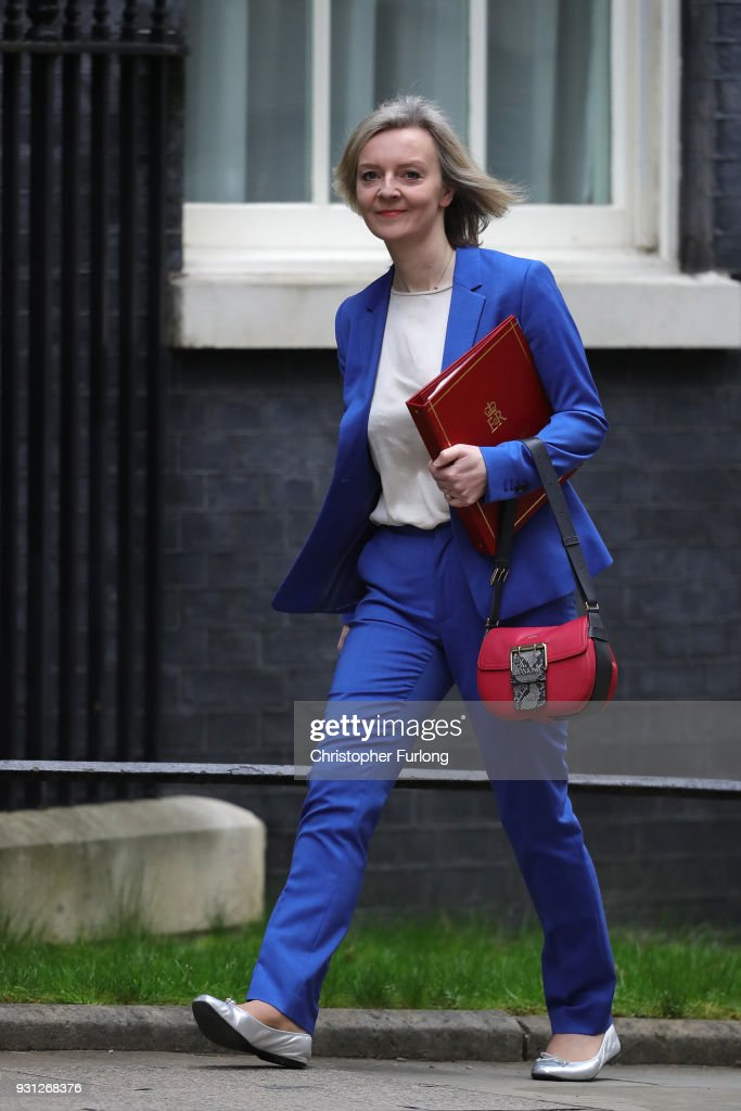 Chief Secretary to the Treasury Elizabeth Truss arrives for the weekly cabinet meeting at 10 Downing Street on March 13, 2018 in London, England.