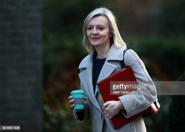Chief Secretary to the Treasury Elizabeth Truss arrives in Downing Street for the weekly cabinet meeting on February 27 2018 in London England