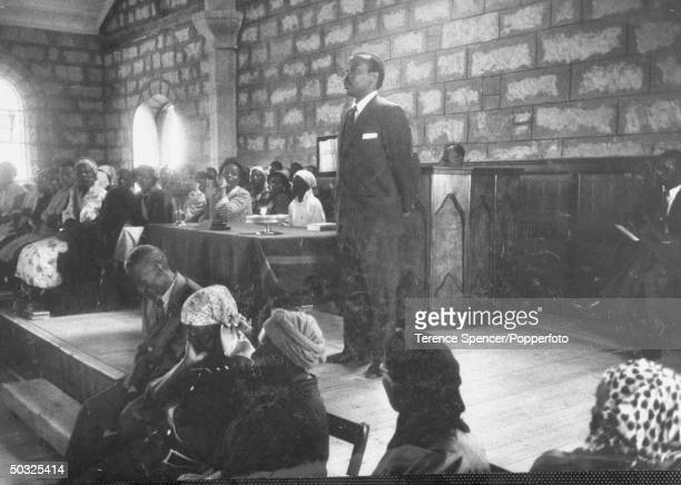 Chief Seretse Khama speaking to tribsmen after return from exile.