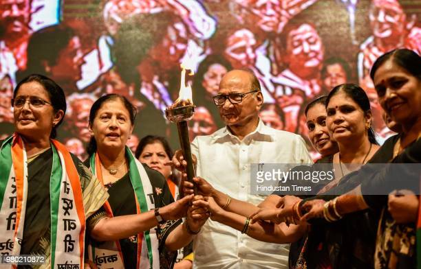 Leader Sharad Pawar with party leaders at a 'Save the Constitution' meet held during the national convention of the NCP women's wing at the YB Chavan...