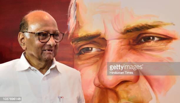 NCP chief Sharad Pawar visits 'Satam Jivam Sharad art exhibition held by Artist Bharat Singh at Nehru Centre on September 21 2018 in Mumbai India