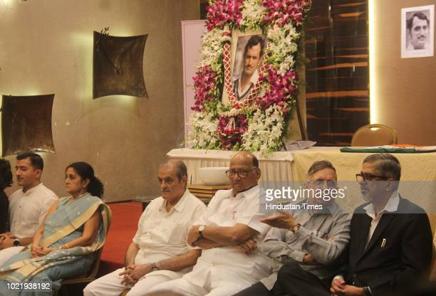 Chief Sharad Pawar with family members of former Indian Skipper Ajit Wadekar during his condolence meeting at Wankhede on August 22 2018 in Mumbai...