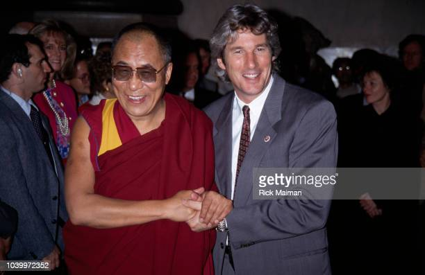 Chief Spiritual Leader of Tibetan Buddhism the Dalai Lama and actor Richard Gere following a press conference at Yale College
