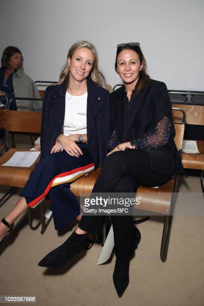 Chief Strategy Officer at Farfetch, Stephanie Phair and Chief Executive of the British Fashion Council, Caroline Rush attends the ALEXACHUNG show...