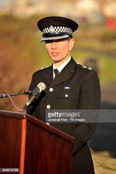 Chief Superintendent Richard Debicki speaking at the memorial service in Gynn Square Blackpool to mark the 30th anniversary of three Blackpool police...