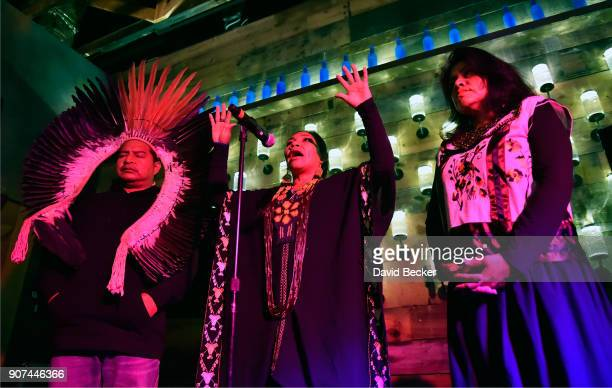 Chief Tashka Yawanawa shaman Husauhu Yawanawa and Laura Yawanawa attend Steelhouse and Eternal Front presents Beyond the Front Lines during the 2018...