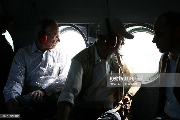 Chief UN peacekeeper Edmond Mulet watches Haitian city of Leogane inside United Nations helicopter south of PortauPrince Haiti November 28 2010 Mulet...